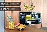 Chefarone Obstkorb zum Aufhängen - 130cm Küchenampel für mehr Platz auf Ihrer Arbeitsplatte - Obst Hängekorb Küche - Obstschale hängend (schwarz) - 4