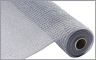 Wide Foil Deco Poly Mesh Ribbon, 10 Inches x 30 Feet (Platinum, Laser Silver Foil)