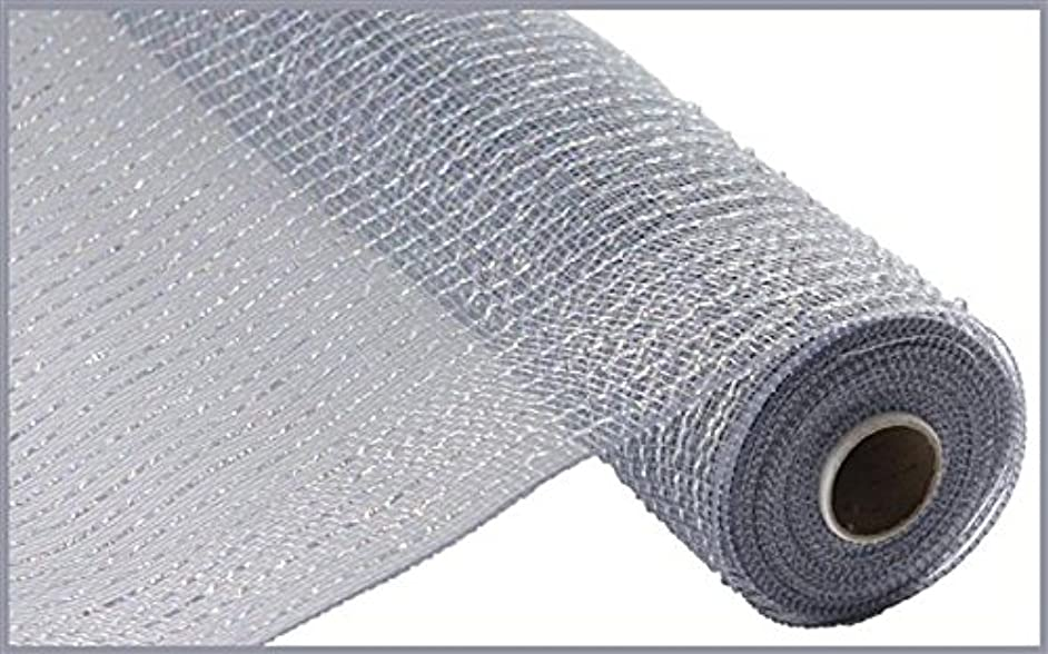 Wide Foil Deco Poly Mesh Ribbon, 10 Inches x 30 Feet (Platinum, Laser Silver Foil)