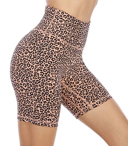 OVRUNS Biker Shorts for Women High Wasit Printed Yoga Shorts with Pockets Leopard Workout Running Athletic Cheetah Shorts - Brown - M