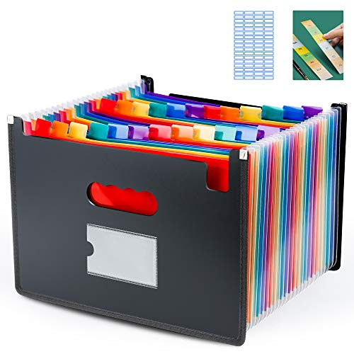 Ultra-Large Accordion File Organizer, 24 Pockets Legal File Folder, Colorful Edge-Wrapped Hot-Pressing Expandable Sorter Fit Legal / Letter / A4 Size Papers Documents for Office, Home, Business, Study