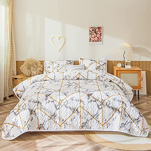 Marmor Quilt Set Weiß Gold Tagesdecke Gold Geometrische Marmor Textur Design Geometrische Marmor Tagesdecke Decke King 2 Quilt 2 Kissenbezüge (King Size, White Gold)