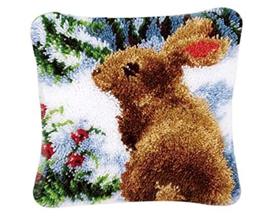 Kit de ganchos para alfombra hecha a mano, bordado, ganchillo, alfombra de ganchillo, alfombra de felpa, juego para principiantes, para niños/adultos, artesanía de 40 x 40 cm