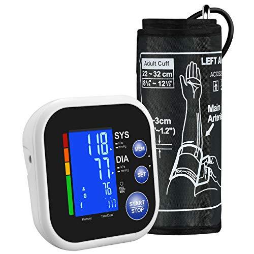 Mpow Misuratore Pressione, Misuratore Pressione da Braccio Bluetooth, App Gratuita per Smartphone, Ampio Display LCD Retroilluminato, 2 * 60 di Memoria, Confortevole Polsino Grande (22cm-32cm)