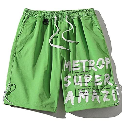 UKKD Pantalones Cortos De Deporte Hombre Pantalones Cortos Casuales De Verano Hombres Moda Moda Playa Salvaje Pantalones Cortos Letra Impresión Tendencia -Green,XXXL
