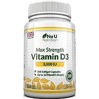 Vitamina D3 3000 UI | 365 Cápsulas Blandas (Suministro Para Todo el Año) | Suplemento de Vitamina D3 Tres Veces Más Concentrado, Colecalciferol de Alta Absorción | Libre de Gluten Y Lácteos