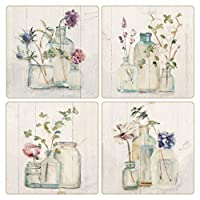 """CoasterStone AS10180""""Blossoms On Birch"""" Absorbent Coasters (Set of 4), 4-1/4"""", Multicolor [並行輸入品]"""