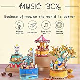 Walmeck- DIY Music Box Puzzle 3D Wood Model Puzzle Kits Rotating Craft Kits Unique Gift Toy for Girls
