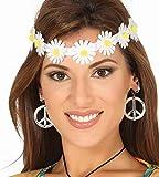 Guirca 17389 - Tiara Hippie Flores Margaritas, color blanco y amarillo