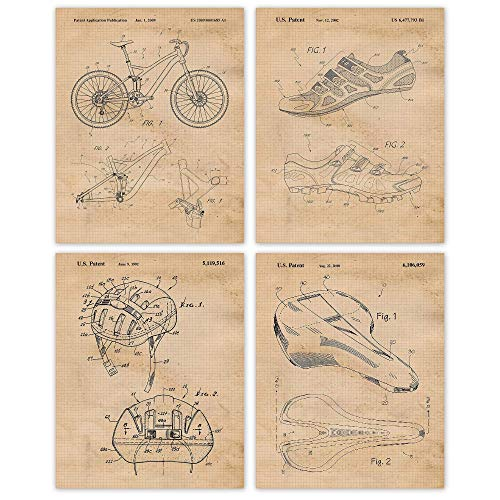 Vintage Specialized Mountain Bike Patent Art Poster Prints, Set of 4 (8x10) Unframed Photos, Great Wall Art Decor Gifts Under 20 for Home, Office, Garage, Shop, Man Cave, Student, Teacher, Cyclist