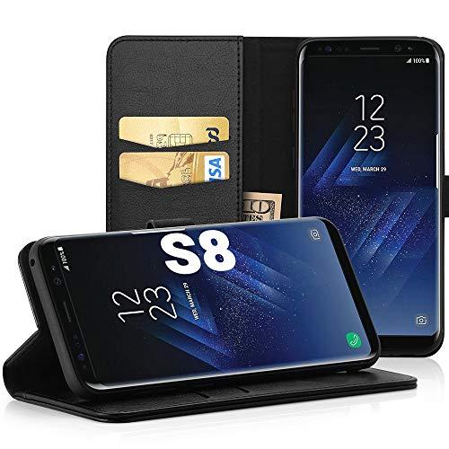 EasyAcc Hülle Hülle für Samsung Galaxy S8, Lederhülle PU Leder Flip Tasche Klappbar Schutzhülle Handyhülle mit [Ständer Funktion] Card Holder Kunstleder Cover Kompatibel mit Samsung Galaxy S8 - Schwarz