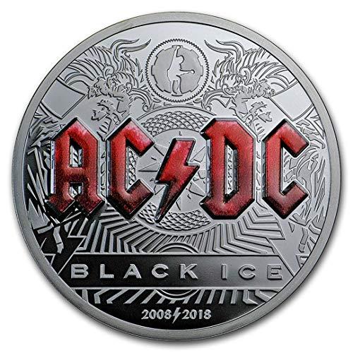 2018 Islas Cook AC/DC Negro Hielo Prueba 2 oz 999 Pure Plata 25000 Membrillado