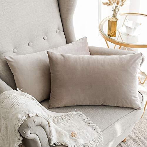 MIULEE Confezione da 2 Federe in Velluto Copricuscini Decorativi Fodere Quadrate per Cuscino per Divano Camera da Letto Casa30X50cm Cuore di Legno