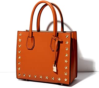 FengheYQ New Satchel Trend Casual Fashion Women's Shoulder Bag Small Leather Tote Size:25 * 11 * 22cm (Color : Orange)