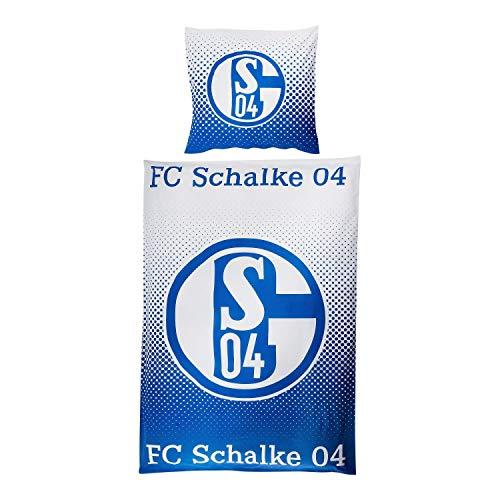 FC Schalke 04 Bettwäsche - Raster - 2teilig Bezug Decke/Kissen 135 x 200 cm S04 - Plus Lesezeichen I Love Gelsenkirchen