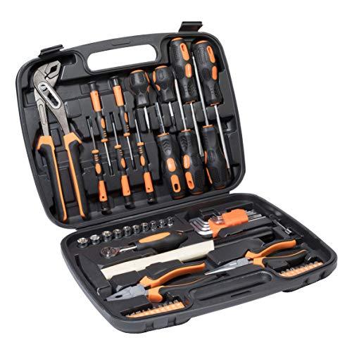Werkzeugkoffer Werkzeugset Werkzeug im praktischen Koffer 57-teilig Werkzeugkiste Werkzeugkasten für den Haushaltbereich Werkzeugtrolley inkl. vielseitigem Zubehör Werkzeugtrolly (57-teilig)
