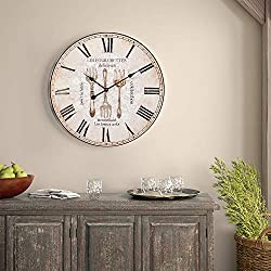 SkyNature Decorative Wall Clock, Vintage Art Wooden Clock with Roman Numerals, Indoor Silent Non-Ticking Battery Operated Clock for Living Room, Bedroom, Kitchen, Dinging Room - 24 Inch, Forks