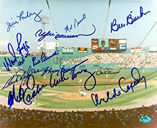 Autograph Warehouse 79048 Fenway Park Photo Autographed By Boston Red Sox Size 8 x 10 12 Signatures Wade Boggs, Pesky, Doerr, Petrocelli, Parnell, Dawson, More