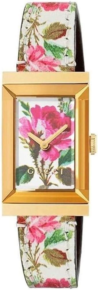 Gucci, orologio da donna, cassa in acciaio con finitura pvd placcato oro, cinturino in pelle YA147406