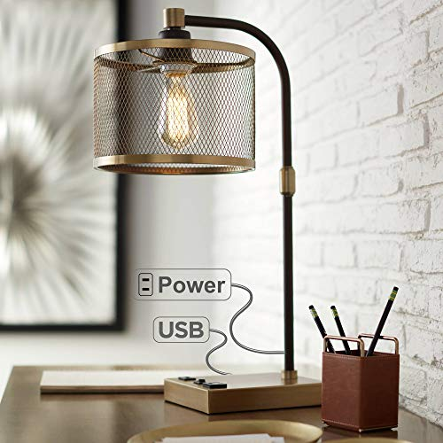 Brody Vintage Farmhouse Industrial Desk Lamp with USB and AC Power Outlet in Base Antique Brass Bronze Perforated Metal Shade for Living Room Bedroom House Bedside Nightstand - 360 Lighting