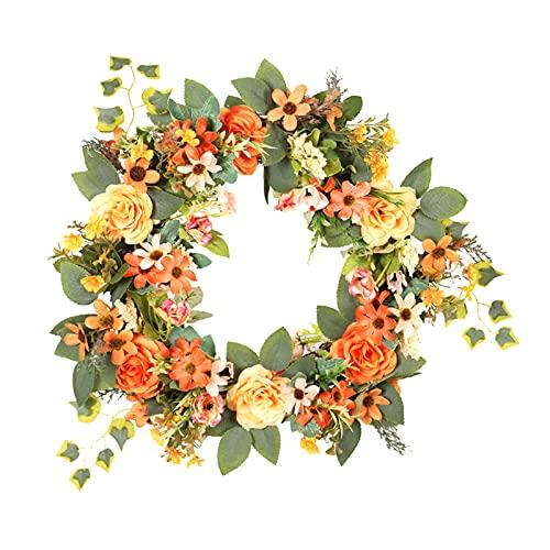 Baoblaze 16 ''/40cm Corona de Puerta, Coronas de Flores de Primavera y Verano, decoración de peonía Floral con Hojas de Margarita Artificiales para Puerta