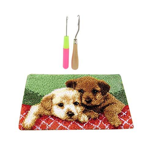 freneci Kits de Alfombras con Gancho de Pestillo de Cojín para Alfombras de Bricolaje Y Herramientas de Gancho de Pestillo de 2 Piezas - Cachorros