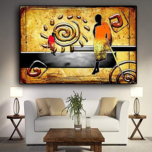 Antangtang Vintage abstract landschaplakaat en druk op olieverfschildersdoek van de Afrikaanse illustratie. Scandinavisch kunstschilderij voor woonkamer, zonder lijst.
