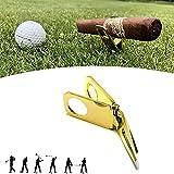 Titular del cigarro y la Herramienta Divot Divot, Herramienta Divot Golf con Ball Marker Cigar Bigne, Herramienta de reparación de Divot Golf y Ballmarke, Regalo para Golfistas,Oro