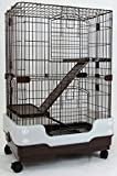 Dreamhome Heavy Duty Chinchilla Cage with Urine Guard & Metal Grate - 3-story - 24x17x38' - Brown
