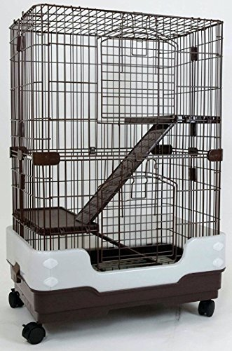 "Dreamhome Heavy Duty Chinchilla Cage with Urine Guard & Metal Grate - 3-story - 24x17x38"" - Brown"