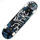 Asdfax Skateboard débutant Monopatín Completo de 31 x 8 Pulgadas para Adolescentes, Superficie cóncava de Arce de 7 Capas y monopatín versátil para Principiantes-Segundo