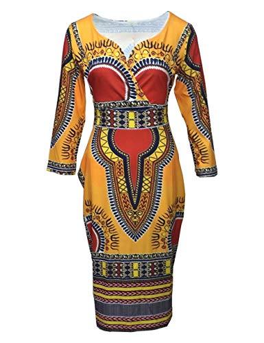YYH Womens jurk Casual V-hals nationale wind jurken XXXL Goud