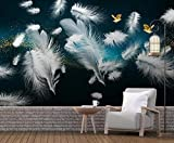 Papier Peint Panoramique 3D Oiseau Plume Blanche Simple Tapisserie Murales Salon Papier Peint Intissé Mural