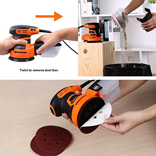 TACKLIFE 5-Inch Random Orbit Sander 3.0A with 12Pcs Sandpapers, 6 Variable Speed 6000-13000RPM Electric Sander, High Performance Dust Collection System, Sander for Woodworking - PRS01A