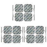 StimPads, 50X50mm, Eco-Pack de 12 Unidades de Alto Rendimiento, electrodos TENS - EMS de Larga duración con Conector Universal Tipo Pin de 2mm