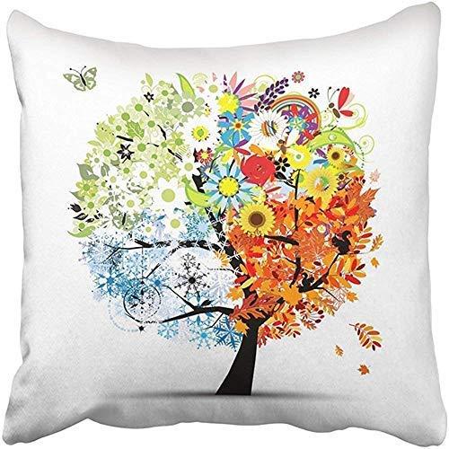 Funda de almohada personalizable de 45 x 45 cm, verde, para cuatro estaciones, primavera, verano, otoño, invierno, árbol, hermosa, tu hoja de naranja, funda de almohada cuadrada para Navidad, boda, aniversario, regalos románticos