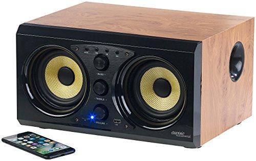 auvisio Holz Lautsprecher: 2.0-Soundsystem im Holzgehäuse, Bluetooth 3.0, Musik-Player, 60 Watt (MP3-Aktiv-Lautsprecher)