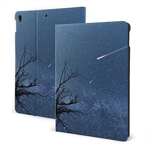 AlAlAl iPad Cover For Girls 2019 iPad Air3/2017 iPad Pro 10.5 Inch Case/2019 iPad 7th 10.2 Inch Case Night Blue Sky Tree Of Meteor Galaxy Mountain iPad Cover For Girls Auto Wake/sleep