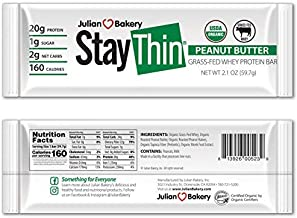 Sponsored Ad - Julian Bakery Stay Thin Protein Bar | Peanut Butter Grass-Fed Whey | Certified Organic | 20g Protein | 2 Ne...