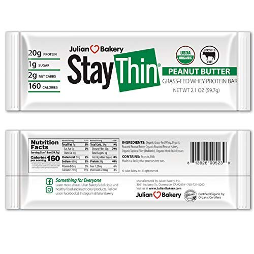 Julian Bakery Stay Thin Protein Bar | Peanut Butter Grass-Fed Whey | Certified Organic | 20g Protein | 2 Net Carbs | 10 Bars