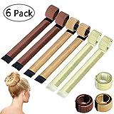 Chignon Magique, 6 PCS d'Outils de Coiffure Bande de Chignon Bun Maker Set Accessoire de Cheveux pour Filles Femmes (Blond, Marron Clair, Marron)