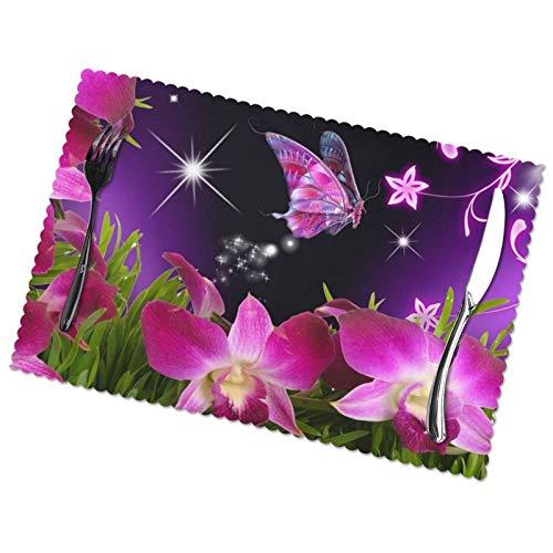 ZCHW Manteles Individuales Juego de 4 Flores Rojas Mariposa Brillante Resistente al Calor Alfombrillas Lavables Manteles de poliéster 30X45CM
