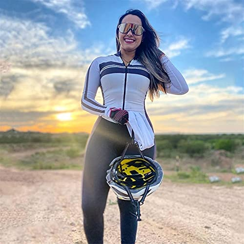 Damen Triathlon Radfahren Jumpsuit Hose Langarm Fahrrad Jersey Sets Bike Sport Eng Running Skinsuit Kleidung (Color : 3, Size : X-Small)