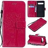 nancencen Hülle Kompatibel mit Samsung Galaxy S10 5G / S10 X / G977B, Flip-Hülle Handytasche - Standfunktion Brieftasche & Kartenfächern - Baum & Katze - Rose Red