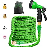 Zicosy Garden Hose-50ft Expandable Hose - Heavy Duty Flexible Leakproof Hose - 8-Pattern High-Pressure Water Spray Nozzle & Bag & Plastic Holder.No Kink Tangle-Free Pocket Water Hose (50ft)