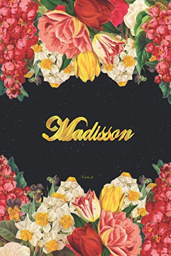 Madisson Notebook: Lined Notebook / Journal with Personalized Name, & Monogram initial M on the Back Cover, Floral cover, Monogrammed Notebooks and Journals for Girls & Women