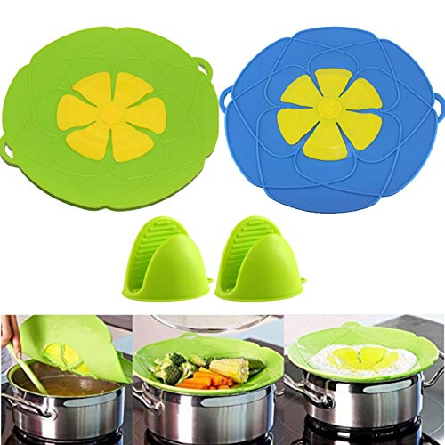 Pot Cover Spill Stopper Lid Pack of 2,Boil-Over Spill Stopper for Pans,Thicken Silicone Boil Over Spill Safeguard,Function Cooking Kitchen Tool with 1pair Silicone Pot Mitts.