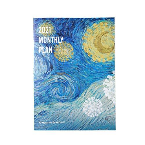 Blocs y Cuadernos de Notas Agendas de Arte 2021 Organizador de planificador A4 Diario Cuaderno Starry Sky Journal Weekly Plan Mensual Note Hand Book Volver a la Escuela Blocs y Cuadernos de Notas