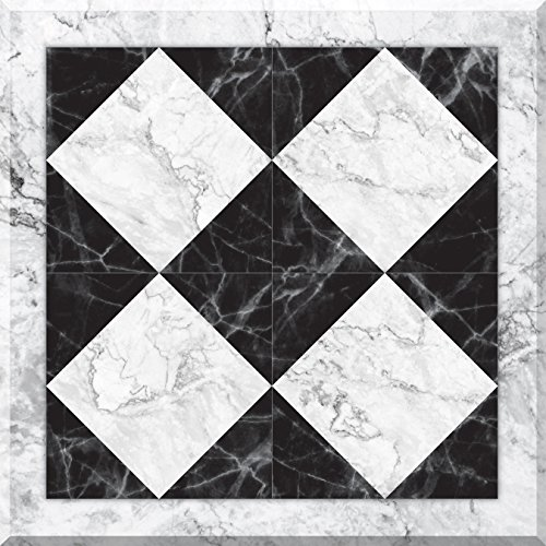 """Con-Tact Brand FloorAdorn Vinyl Floor Appliques Self-Adhesive, Decorative and Removable Tiles, 12""""X12"""", Marble Harlequin, 6 Sq Ft"""