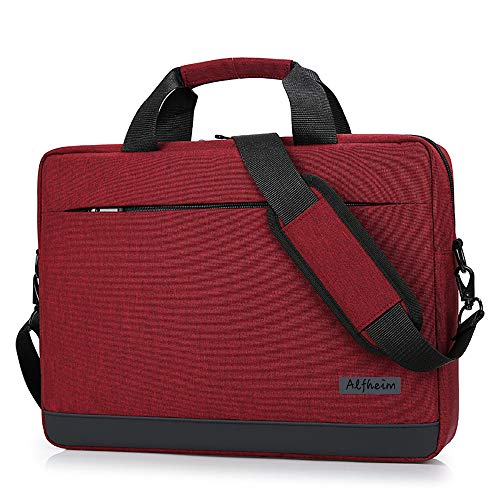Alfheim Laptop Bag with Shoulder Strap, 14 Inch Lightweight Soft Briefcase for Men Women Student Business Work School, Compatible with Hp/Macbook, Red